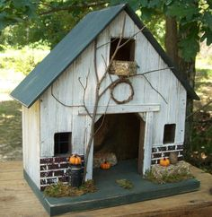 Primitive Lighted Rustic Fall Barn Stable Folk Art Worn White w/ dark green accents ~ Pumpkins ~ Comes w/ light and cord Bird Houses Diy, Fairy Houses, Doll Houses, Amish Barns, Saltbox Houses, Bird House Kits, Bird House Plans, Barn Lighting, Miniature Houses