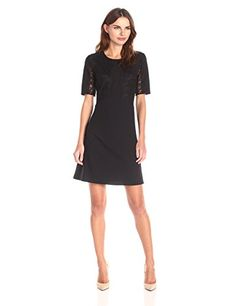 Lark Ro Womens Short Sleeve Lace Bodice Fit and Flare Dress Black 4   You  can 962a2eed8