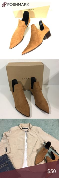 Suede Booties These wear it anyway camel color Suede add interest to a block-heel bootie that's easy to slip on and off. Gently loved in great condition. No rips or stains. Zara Shoes Ankle Boots & Booties