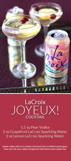 Skinny Cocktail with vodka and zero calorie LaCroix sparkling water.
