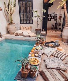 Breakfast in the pool Marrakech Morocco. Photo by - Breakfast in the pool Marrakech Morocco. Photo by - Boho Home, Bali Style Home, Pool Designs, Home Look, Future House, Outdoor Spaces, Outdoor Pool, Outdoor Living Patios, Outdoor Plants