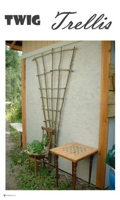 Build a Twig Trellis for your vines to grow on; create your own beauty from prunings and branches right from your own garden. Build a Twig Trellis for your vines to grow on; create your own beauty from prunings and branches right from your own garden. Grape Trellis, Vine Trellis, Trellis Ideas, Garden Fencing, Garden Art, Garden Design, Garden Totems, Garden Whimsy, Garden Junk