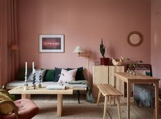 """Pink living room, what is the collision between the most open space in the room and the """"powder""""? In the most open living room in… Diy Originales, Gravity Home, Pink Room, Pink Walls, Living Room Interior, Home And Living, House Design, Interior Design, Decoration"""