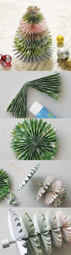 Пестрая елочка из бумаги