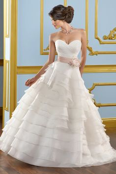 $195 Navy Blue Ribbon. Sweetheart Princess Style Wedding Dress with Delicate Handmade Floral Corsage