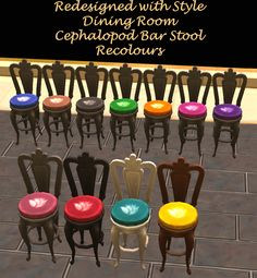 Mod The Sims - Redesigned With Style - 18 Dining Room Items Recoloured
