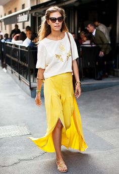 Yellow skirt + white embellished top + flat sandals