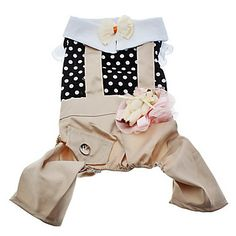 Spot Pattern Shirt and Khakis Pant with Bear Decoration for Dogs (XS-XL) – USD $ 10.79
