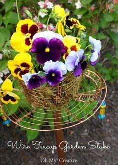 Goodwill Trash To Treasure Teacup Garden Stake - a great repurposed or upcycled project and DIY garden decor!   OHMY-CREATIVE.COM #gardenstake #diygardenstake #garden
