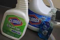 1/24 cup bleach, 1Tbs dishsoap, fill the rest of the bottle with water and Ta Da!  Homemade Clorox Cleanup!  I'm all over this!