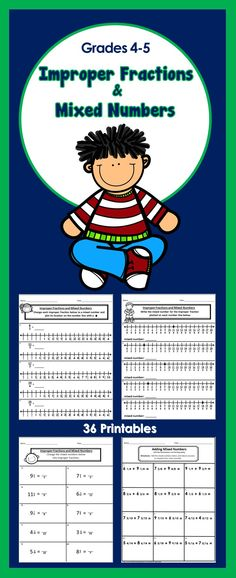 36 No Prep Printables - Improper Fractions and Mixed Numbers