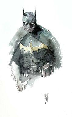 Batman (Watercolor comic book painting) | By: Alex Maleev, via Cuded
