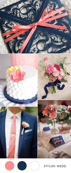 elegant navy blue wedding invitations with coral ribbons for 2017