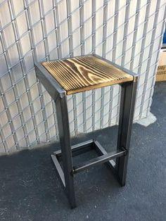 Modern industrial stool by modernlinesfab on Etsy Cool Bar Stools, Industrial Bar Stools, Wooden Bar Stools, Vintage Industrial Furniture, Modern Industrial, Industrial House, Industrial Lighting, Industrial Windows, Industrial Restaurant
