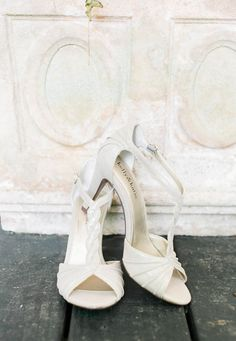 Kelly & Katie, braided leather, white heels, wedding shoes // JB Marie Photography