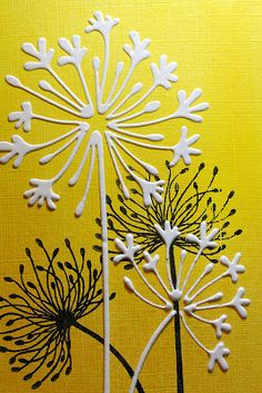 Yellow PanPastels and the lovely Dandelions from Lavinia stamps. After the main image was dry I placed a Sweet Poppy Stencil over the top and stencilled the Agapanthus  image, using White Glossy embossing paste. I love this effect.: Eileen's Crafty Zone
