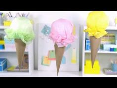 See how to make a fun #birthday party craft, paper ice cream cones, that look almost good enough to eat! http://www.youtube.com/watch?v=_uNi_go6Z6A