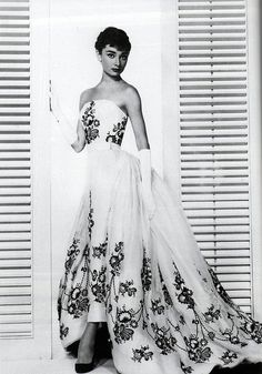 """Audrey Hepburn in the """"Sabrina"""" dress by Givenchy, 1953 LOVE THIS DRESS! And Audrey Hepburn!"""