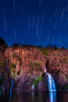 Startrails over Wangi Falls - Startrails over Wangi Falls, Litchfield National Park, Northern Territory, Australia Tasmania, Oh The Places You'll Go, Places To Visit, Litchfield National Park, Darwin Australia, Star Trails, Photos, Pictures, Australia Travel