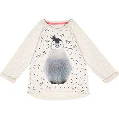 Mini girls cream penguin t-shirt $16.00
