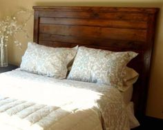 diy solid wood headboard plan from Ana White at Knock Off Wood Ana White, Home Bedroom, Bedroom Decor, Bedroom Ideas, Master Bedroom, Reclaimed Wood Headboard, Salvaged Wood, Reclaimed Lumber, Wooden Pallets