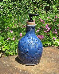 Soap Dispenser in Blue Flower Design (meesh327) Tags: blue ceramic handmade stoneware soapdispenser lotiondispenser