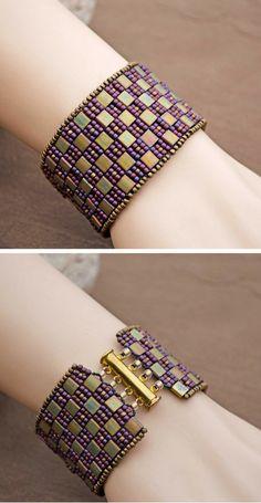 Bracelet Miyuki Glass Handwoven in Gold & Burgundy Flexible Cuff One of A Kind Bracelet Beadwork Bracelet Exclusive Cuff Bracelet Stylish Jewelry, High Jewelry, Loom Patterns, Beading Patterns, Beaded Bracelet Patterns, Beaded Bracelets, Diy Bracelet, Loom Beading, Bead Art