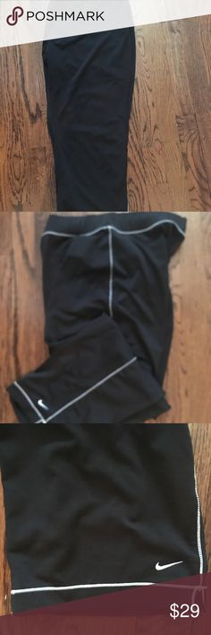 Nike Women's Capri Athletic Pants Size XL (16-18) Women's very nice Nike Capri Workout/ Athletic Pants Size XL. Black with White stitching and logo. 88% Poly/12% Spandex RN#56323. Soft, silky, stretchy feel. Not real thick or binding.Excellent Condition! Nike Other