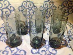 Grands verres Smokey gris Set de 6 Vintage par VeryVintageCanadian