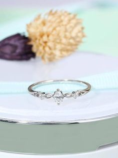 Art deco engagement ring Vintage engagement ring Women wedding Antique Marquise cut Diamond Simple Unique Bridal Jewelry Anniversary gift