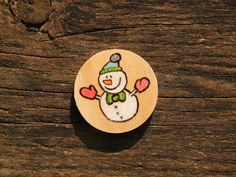 Merry Christmas Mini Snowman pyrography Personalised Wooden fridge magnet hand engraved burning wood