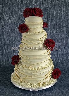www.scrumptiouscakes.co.uk (1052) - 4 tier white chocolate wrap wedding cake with fresh red roses.