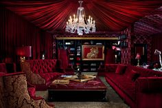 """""""View this Great Traditional Living Room with Built-in bookshelf & Carpet by Joshua Rowland Interiors. Discover & browse thousands of other home design ideas on Zillow Digs. Living Room Red, Living Room Decor, Living Area, Gothic Halloween Decorations, Salas Lounge, Velvet Room, Red Rooms, Gothic House, Tasting Room"""