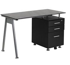 Glass Computer Desk with 3 Drawer Pedestal, Black #FlashFurniture #Contemporary