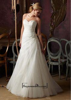 Alluring Organza&Satin A-line Sweetheart Neckline Natural Waistline Wedding Dress