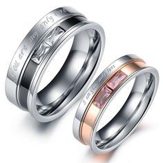 ade730ad81 Personalized custom engraving services Free Engraving Rings Couple Rings  Titanium Rings Men Ring Women Ring His and Her Promise Ring Sets(You are my  only ...