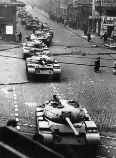 Russian tanks roll down a street in Budapest after the Soviet invasion of Hungary to suppress the anti-communist revolution in Get premium, high resolution news photos at Getty Images European History, World History, World War Ii, Old Pictures, Old Photos, Prague, Armored Fighting Vehicle, Battle Tank, Budapest Hungary