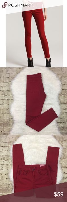 """Rag & Bone High Rise Skinny Jeans Red high rise jeans in a red color • they're I good preowned condition some color bleeding on the interior as seen on pictures• approximate measurements laying flat waist 14"""", rise 9.75"""", inseam 29""""• 55% cotton 42% tencel• 3% spandex rag & bone Jeans Skinny"""
