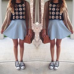 Skater skirt along with a shirt from brandy Melville