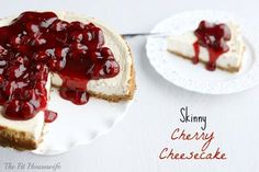 Skinny Cherry Cheesecake - a secret ingredient makes this the ultimate low-fat cheesecake #recipe #healthy #dessert