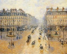 Avenue de l'Opera: Snow Effect - Camille Pissarro Paintings