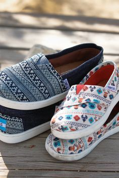 TOMS Classics for kids in tribal patterns and a fun critters print.