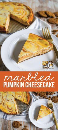 Marbled Pumpkin Cheesecake - this pumpkin cheesecake recipe has a little bit of a kick to it. So good!! from www.thirtyhandmadedays.com