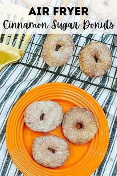 Air Fryer Cinnamon Sugar Donuts are delicious and easy! With just 4 ingredients and about 5 minutes, you will be making donuts in a snap that the kids will love as it combines refrigerated biscuits, butter, and cinnamon, and sugar! These biscuit donuts finger-licking good! Biscuit Donuts, Biscuits, Orange Plates, Making Donuts, Cinnamon Sugar Donuts, Good Food, Yummy Food, Party Food And Drinks, Meals For The Week