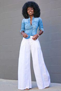 Fitted Denim Shirt + Wide Leg Pants