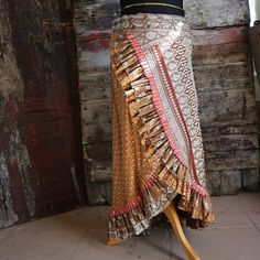 New S-M ANTIQUE GOLD Flamenco Ruffle Skirt Silk Sari