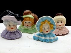 Porcelain Doll Head Christmas Tree Hand Painted Bisque Figurine Ornaments