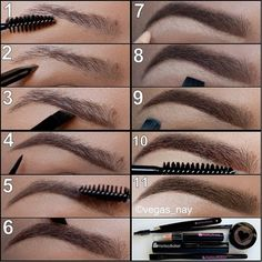 1)Brush brows 2)Pluck brows clean 3)Draw a line w/angle brush & follow hair line 4)Draw in tail by drawing out corner and draw down to define arch 5)Brush brow w/spooly to soften powder 6)Draw top brow to define & turn down using angle brush to define arch again 7)Draw highlighter underneath brow & follow shape of brow 8-9)Take highlighter smudge brush & fan up to the bottom of brow & blend across & down 10)Set the look with the brow gel