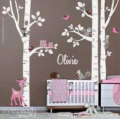 Birch Trees Sticker, Birch Trees Wall Decal, Forest Animals Wall Sticker, Bambi Squirrels Birds Owls Forest Trees Wall Decal, Nursery Decor
