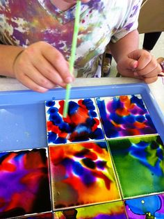 alcohol ink tiles...might be good for a low-pressure day: Excellent idea for a free art day!